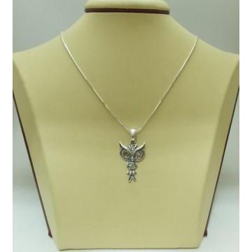 Дамски сребърен медальон - Сова