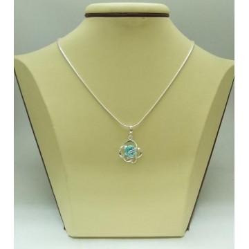 Дамски сребърен медальон Роза Аквамарин