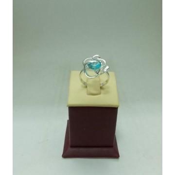 Дамски сребърен пръстен Роза Аквамарин
