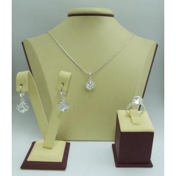 Дамски сребърен комплект с кристали Swarovski