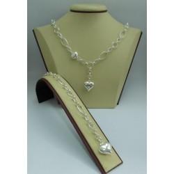 Дамски сребърен комплект - Сърца колие и гривна