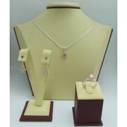 Дамски сребърен комплект Снежанка - Розова обеци пръстен медальон