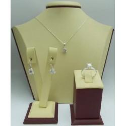 Дамски сребърен комплект Снежанка обеци пръстен медальон
