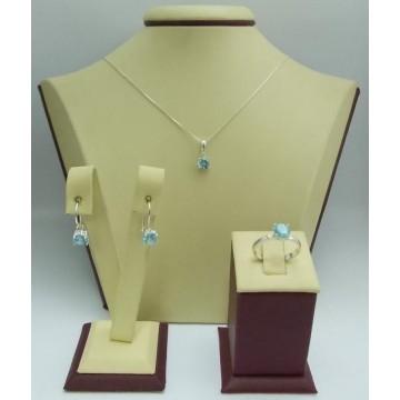 Дамски сребърен комплект Снежанка - Синя обеци пръстен медальон