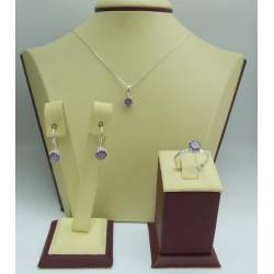 Дамски сребърен комплект Снежанка - Лилава обеци пръстен медальон