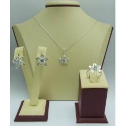 Дамски сребърен комплект Цвете Аква
