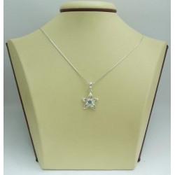 Дамски сребърен медальон Цвете Аква