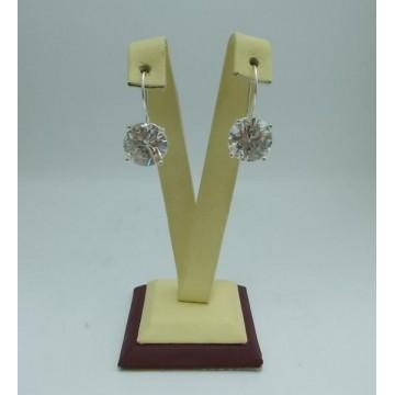 Дамски сребърни обеци с бели циркони Криста