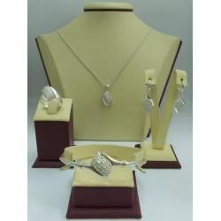 Дамски сребърен комплект Бонбон обеци пръстен медальон гривна