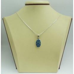 Дамски сребърен медальон със синтетичен тюркоаз - Синьо Лято