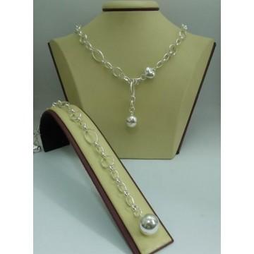 Дамски сребърен комплект - Сърце Топче колие и гривна