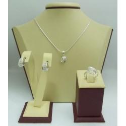 Дамски сребърен комплект Бонбон Мини пръстен медальон и обеци
