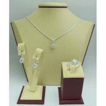 Дамски сребърен комплект Еделвайс обеци пръстен медальон