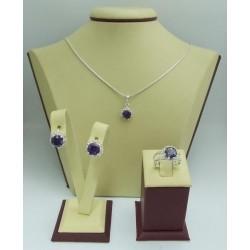 Дамски сребърен комплект Цветулки Лила