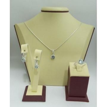 Дамски сребърен комплект Еделвайс Светло Син обеци пръстен медальон