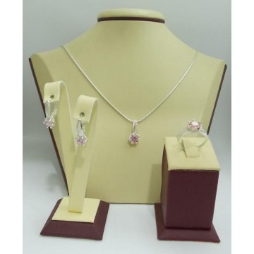 Дамски сребърен комплект Еделвайс Розов обеци пръстен медальон