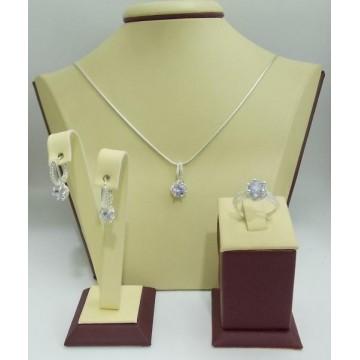 Дамски сребърен комплект Еделвайс Светло Лилав обеци пръстен медальон