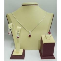 Дамски сребърен комплект Еделвайс Червен обеци пръстен медальон