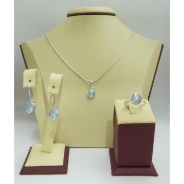 Дамски сребърен комплект със светло синьо котешко око