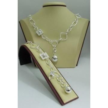 Сребърен комплект - Мирела Асиметрично Топче с камъни