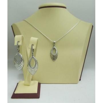 Дамски сребърен комплект с бели циркони Шейла